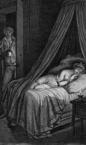 """Dangerous Liaisons, Illustration Pierre Choderlos de Laclos, 1796, """"Valmont entrant la chambre de Cécile""""."""