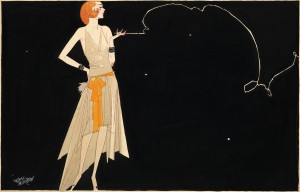 Flapper in smoke, circa 1920, Russell Patterson (1893-1977).