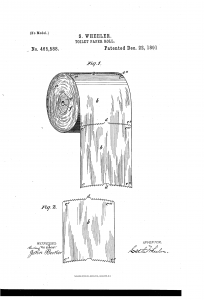 S Wheeler Toilet paper, US patent illus,1891.